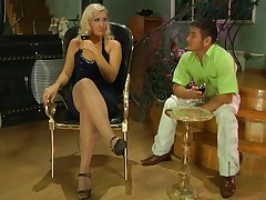 The horny show off Flossie with her blonde hair is using her sexy nylon feet to turn on horny Govard and the dude is so horny by those sleek smooth nylons that he's going to fuck her crazy.  Now that