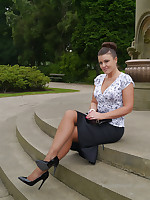 Sexy Karen raises a few shoe charm desires as she poses outdoors in a lovely pair of silky nylons packed with a tall shiny pair of black high heeled stilettos