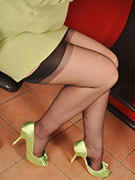 Angel Lovette in black stockings at the coiffeur
