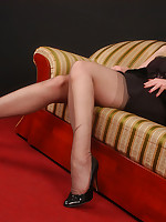 Angel in dark grey stockings with reinforced soles