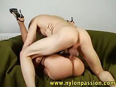 An awesome pantyhose fetish couple