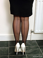 Sexy Sara wearing white high heels and nylon stockings