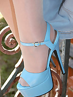 Pantyhoseangel.com ~Where Pantyhose Dreams Come True~ Outdoor with Angel in sheer blue pantyhose
