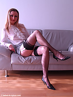 Tammy in sheer blouse,mini,vintage heels and black nylons