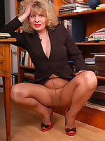 Angel at office in sheer to waist pantyhose