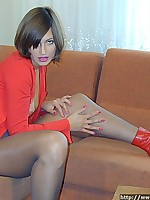Girl in red boots and pantyhose