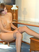 Young hot girl puts on pantyhose on her naked body