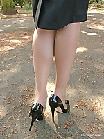 Gorgeous Monica loves being seen outdoors in her sexy high heels