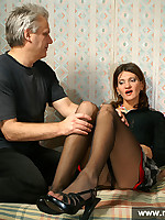 Older man woships pantyhose on his girl