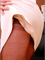 Secretary in brown genuine stockings with seams