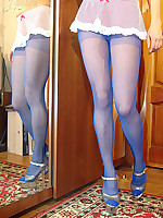 Teen in blue pantyhose