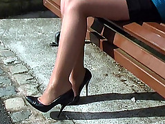 Hannah will actuate and fulfil your shoe fetish as she wears two pairs of vintage high heels