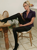 Stunning comme �a secretary Andrea in black pantyhose.