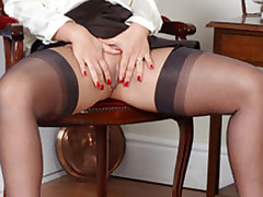 Lana lifts up her petite skirt and toys her sweet pussy until she cums.