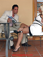 Leggy Lana plays footsie under the table for a better deal