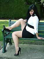 Dark haired office babe Nicola goes for a stroll on every side the park at one's disposal lunch, to show off her curt black shirt and tall stiletto shoes