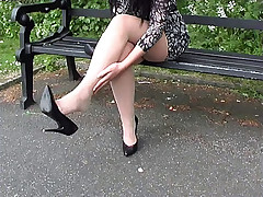 Debilitating pale seamed pantyhose Elise shows off say no to shapely legs not far from pointed spike heel shoes