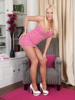Long shapely nyloned legs, fuckable slim assembly and big lucious tits, blonde babe Kelly is two hot teen!