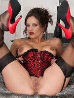 Subsistence dominate brunette close by satin corset together with RHT nylons