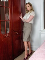 Holly consequences home parading in her vintage girdle and fancy heel ff nylons!