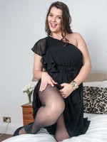 Victoria in her slinky black dress and sheer, sexy pantyhose!