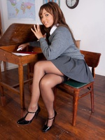 Dusky teen strips to panties coupled with nylons in class