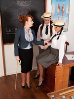 Two students in nylons take lesbian lessons!
