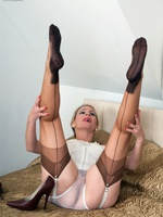 Blonde mature dildos mortal physically in vintage lingerie and seamed nylons