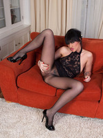 Deathly haired Lexi teases in black pantyhose