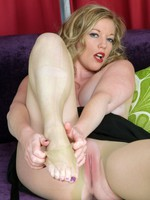 Holly is wearing some special embroidery topped, sheer, nude pantyhose!