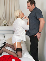 Krystal is day dreaming of Mr Jones in her college uniform and vintage point heel nylons.