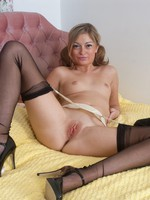 Teen student Melodii strips to her nylons!