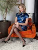 Get one's bearings Natalia to blue silky dress added to black ff stockings!