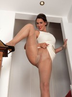 Tammy in very short raiment and designer pantyhose!