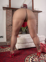 MILF redhead pantyhose striptese with an increment of masturbation with dildo