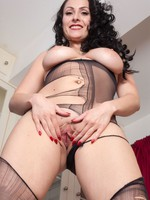 Sophia getting naughty ripping her sheer pantyhose!